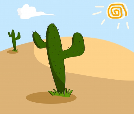 Cactus grows in the arid desert. Vector