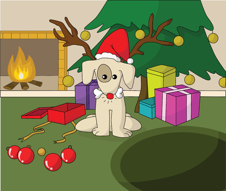 Cute dog in Santa xmas cap opening gift near fireplace  Vector
