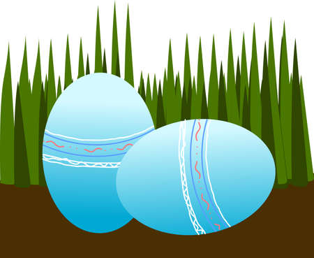 Easter eggs on ground Vector