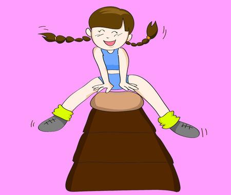 Girl jumping on Japanese Vaulting Horse Illustration