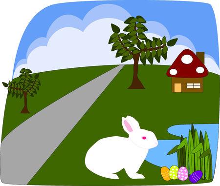 finding: White rabbit finding Easter egg