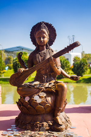 Saraswati is the Hindu goddess of knowledge, music, arts and science.