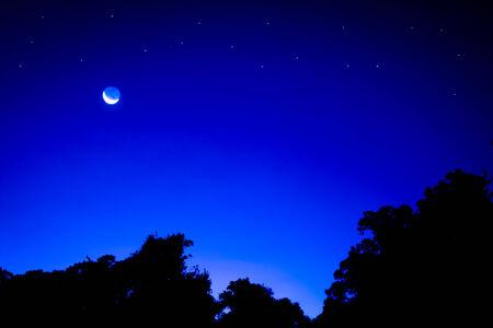 Shiny crescent moon at night. photo