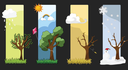 Four Seasons Vector   Each season many emotions Vector