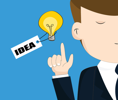 Businessman with light bulb, idea concept Vector