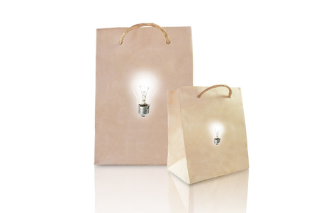 Idea paper bag isolated on white background photo