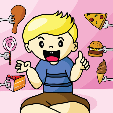 The boy like fast food Vector