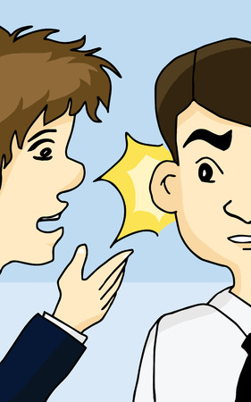 whispering: Guy whispering into man Illustration