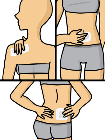 Vector of woman having pain at several part of body Vector