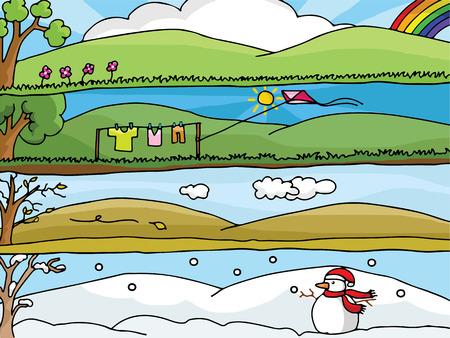 Four Seasons Landscape Vector : Each season many emotions Illustration