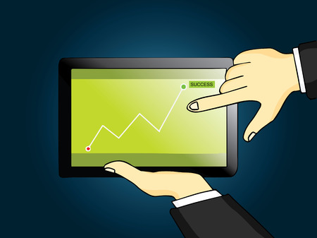 Businessman work with tablet computer, fingers touches on screen to check the graph Vector