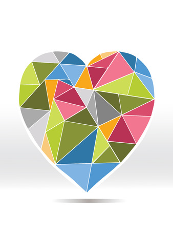 Colorful diamond heart on white background Vector