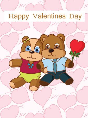 Cute bear in love Vector