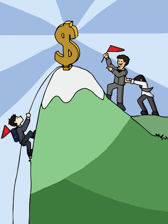 financial cliff: Competition of businessman climbing dollar mountain