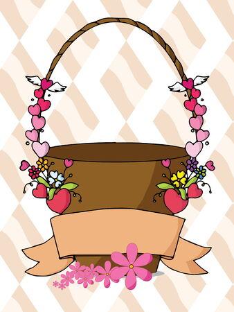 flower basket: Vector of sweet flower basket for Valentine\