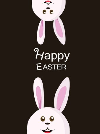 easter bunny: Vector of bunny   Easter rabbit with brown dark   chocolate background Illustration