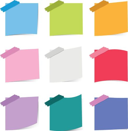 Colorful sticky notepaper on white background