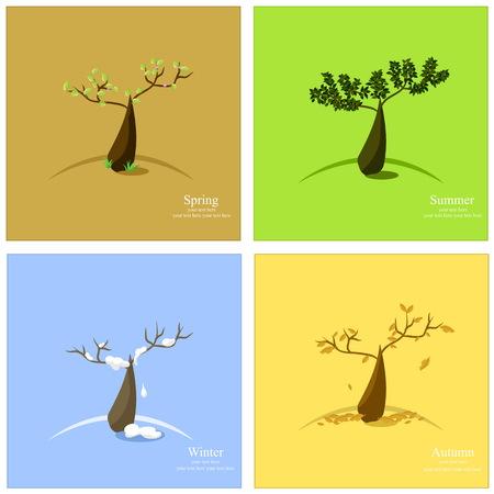 the season: Vector illustration of 4 season