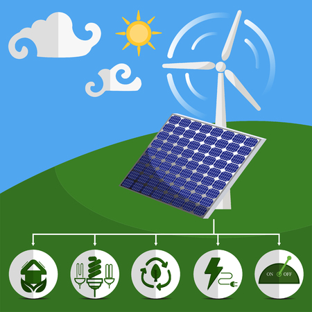 panels: Solar energy panels and wind turbine with energy icon