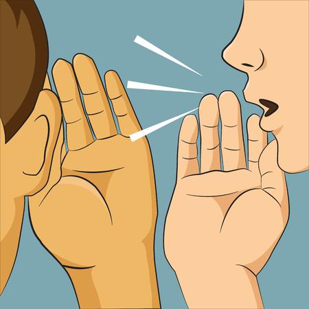 falso: Mujer que susurra en el oído a alguien diciéndole chisme algo secreto, hombre que escucha Vectores