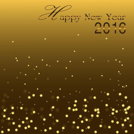 blinking: Happy New Year 2016, Golden bokeh blinking background Illustration