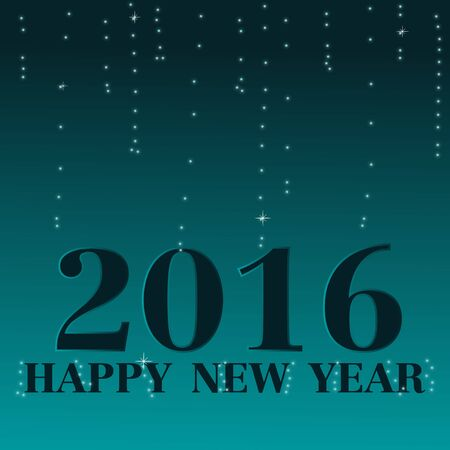 blinking: Happy New Year 2016, Blue bokeh blinking background Illustration