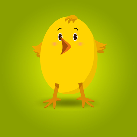 Little yellow chick on green background Illustration