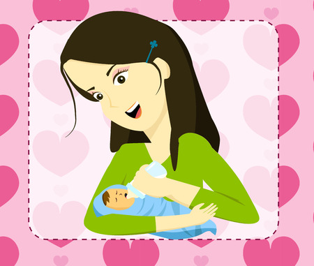 mother holding baby: Mother holding her baby and bottle feeding