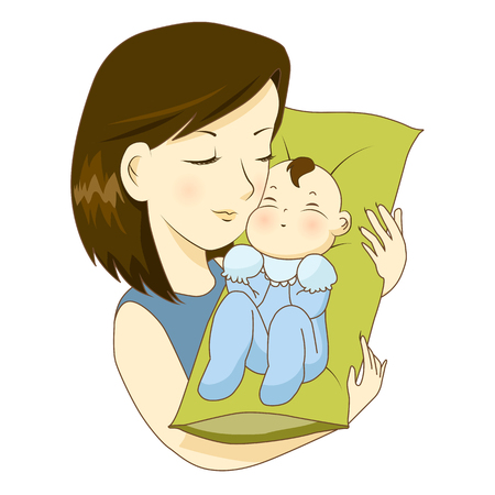 mother holding baby: Mother holding her little baby with love