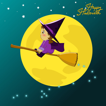 helloween: Little witch flying on a broomstick, Halloween cartoon vector illustration
