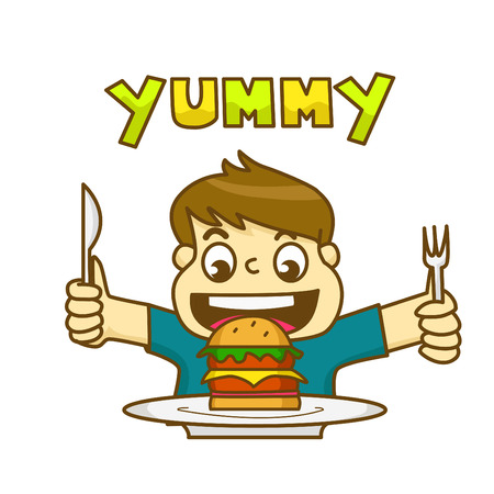 very: Little boy is very happy to eat delicious hamburger and holding a knife and fork awaiting to eat