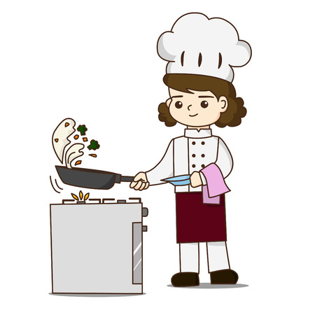 Pretty chef making delicious food, She tossing food in skillet Illustration