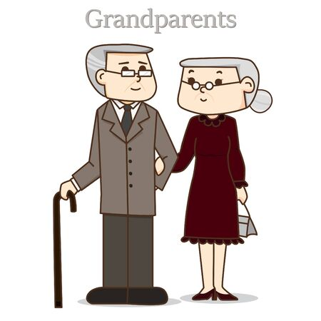 formal dress: Happy Grandparents Day. vector illustration. Grandpa and grandma in formal dress suit. Old Couples Love.