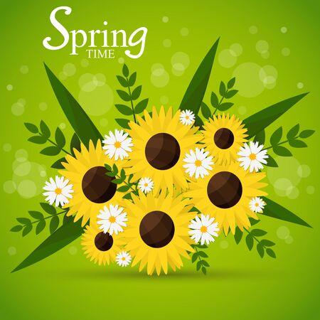 Flower bouquet in springtime. Vector illustration. Season greeting poster. Illustration