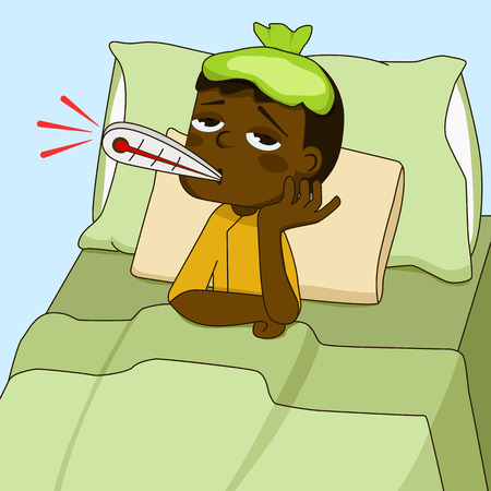 Sick African American boy lying on the bed