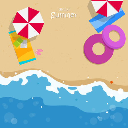 Relaxtime on the beach. Slippers, towel, starfish and summertime Illustration