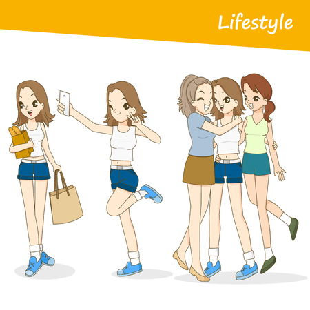 Vector people set, Beautiful women in lifestyle day Banco de Imagens - 77786962