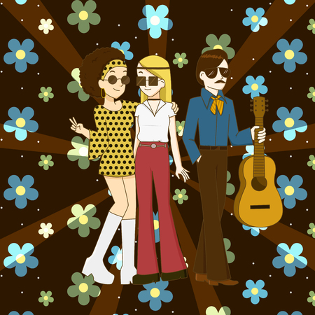 Group of people with fashions of the 1960s and 1970s Stock Illustratie