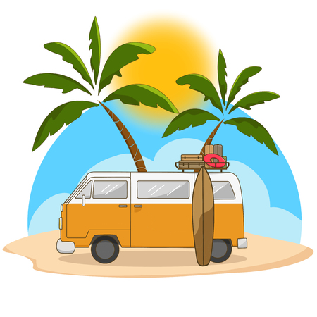 Retro travel van with surfing board and palm tree