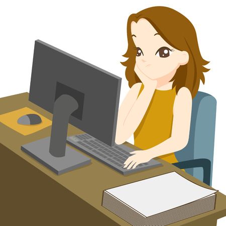 Business woman working on desktop computer and rest the chin on the hand, She is bored