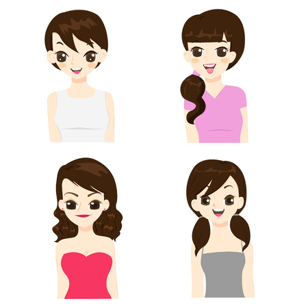 Fashion and hairstyle of asian women vector illustration.