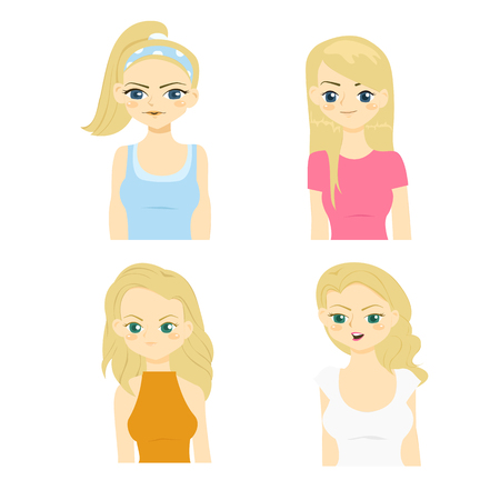 Fashion and hairstyle of caucasian women vector illustration