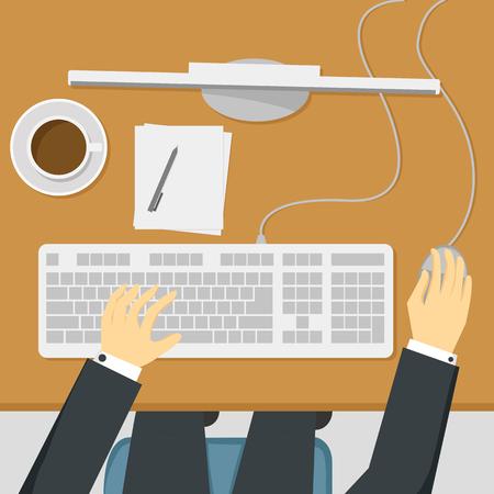 Businessman working on desktop computer in top view vector illustration