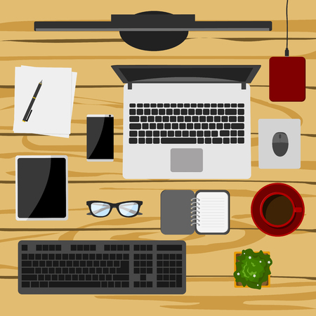 Set of digital devices and office supplies on wooden working table in flat style