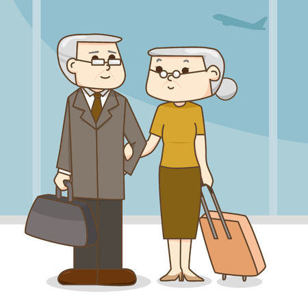 Old couple with a suitcase in the airport. cartoon illustration Stock Illustratie