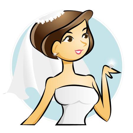 Bride looking at wedding diamond ring