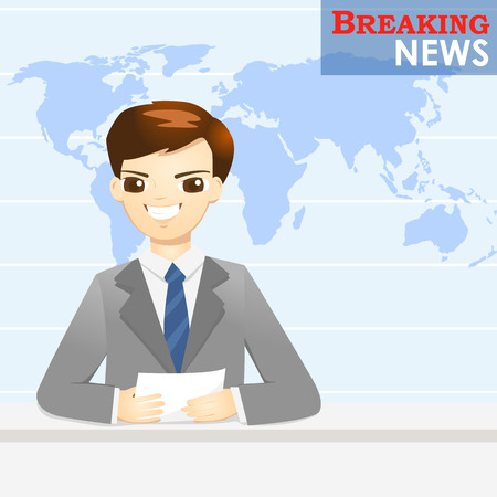 newsreader: News announcer telling news in studio - vector illustration Illustration