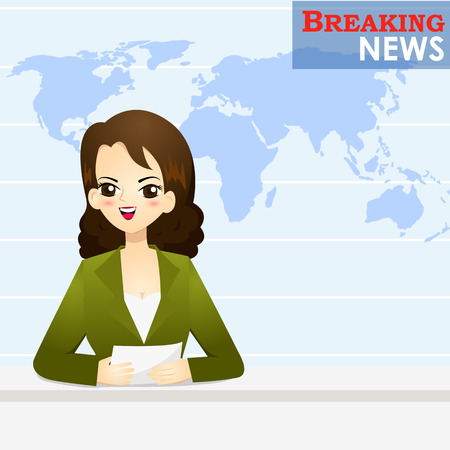 News announcer telling news in studio - vector illustration Illustration
