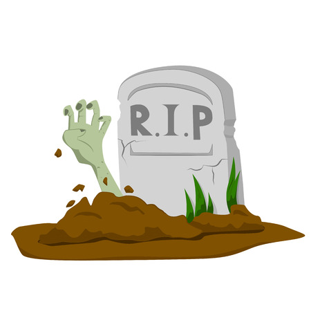 Zombie's hand rising from grave on white background - cartoon vector illustration