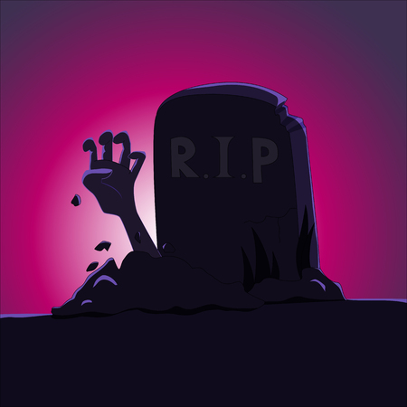 Zombie's hand rising from grave - cartoon vector illustration